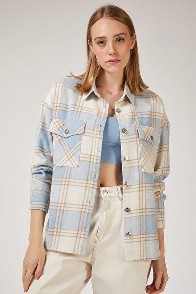 Happiness İst. Kadın Mavi Kareli Yünlü Ceket Gömlek  DD00744