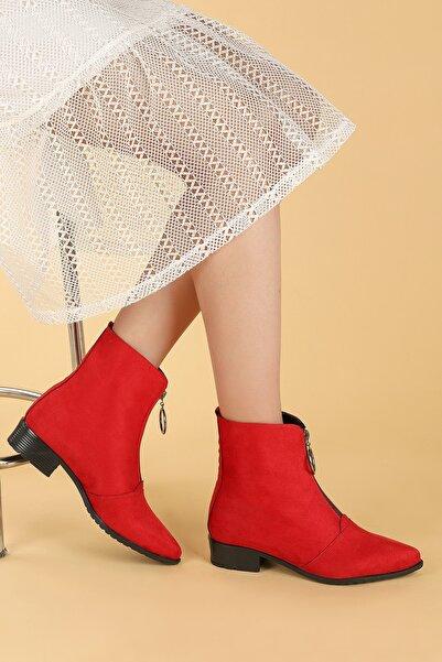 Ayakland Kadın  Kırmızı Süet Fermuarlı Termo Taban Bot Ayakkabı 007-02