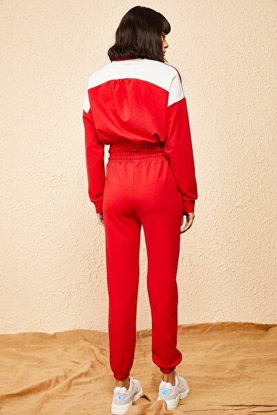 Bianco Lucci Kadın Kırmızı Beyaz Garnili Eşofman Takımı 10161001