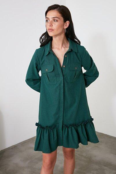 TRENDYOLMİLLA Yeşil Volanlı Gömlek Elbise TWOAW21EL0494