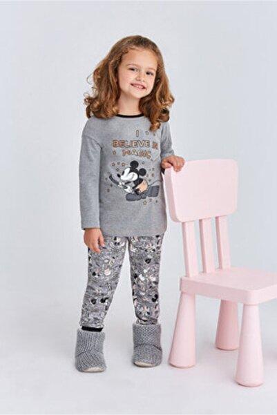 Mickey Mouse Kız Çocuk Gri Mickey Mause Kız Garson Pijama Takımı
