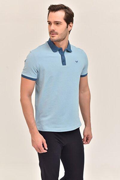 bilcee Mavi Büyük Beden Polo Yaka Erkek  T-Shirt GS-8983