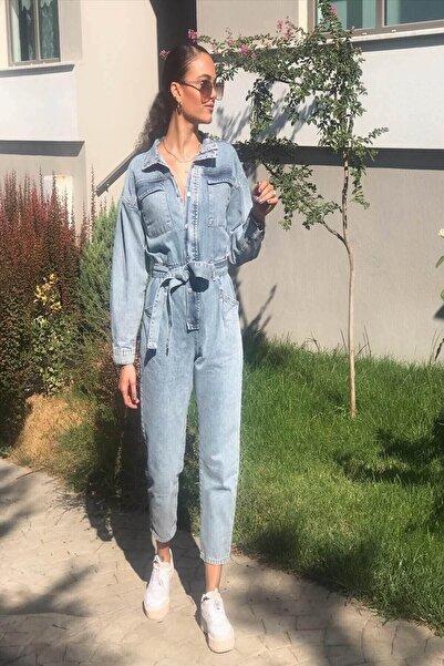 butikgogirl Kadın Mavi Kot Tulum