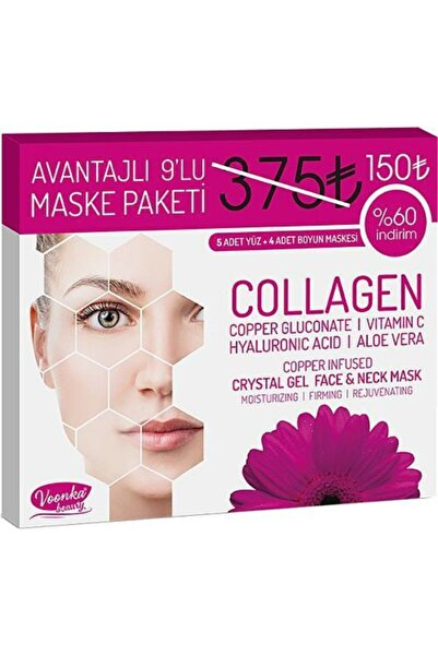 Voonka Collagen Crystal Gel Face And Neck Mask 5+4 Adet