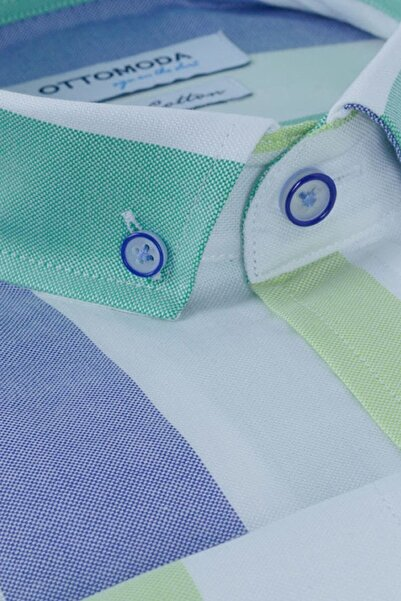 Ottomoda Uzun Kollu Çizgili Erkek Gömlek Mavi-yeşil