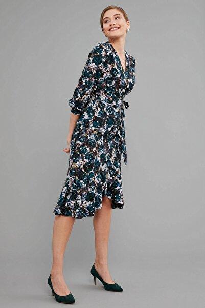 Journey Elbise- Üst Kruvaze Görünümlü, Etek Altı Volan Detaylı, Bel Bağlamalı