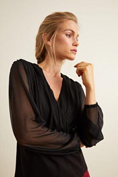 Kadın Siyah Peplum Kruvaze Bluz