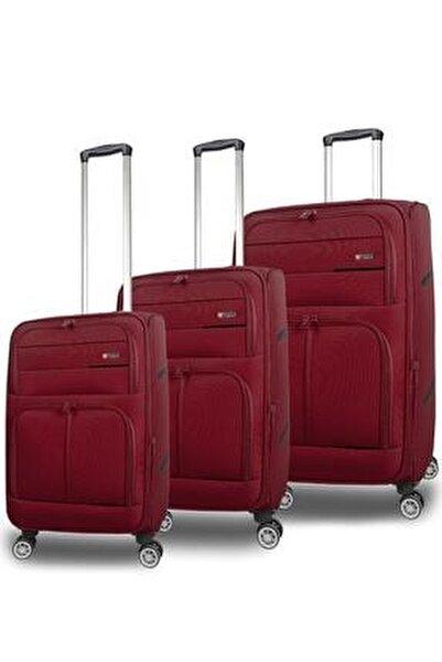 Büyük Orta Küçük 8 Tekerlek 3 Lü Kumaş Valiz Bavul Seti
