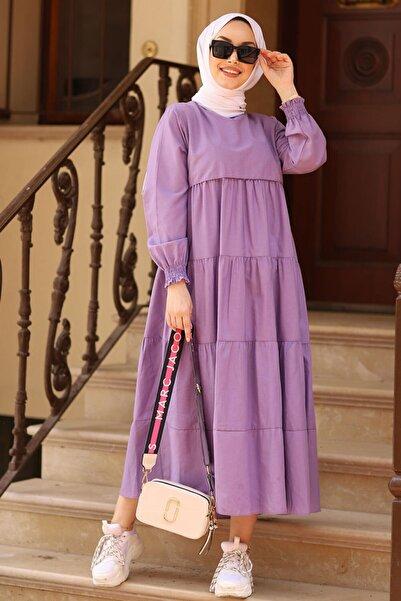 Moda Sahra Kadın Lila Fırfırlı Koldan Büzgülü Tesettür Elbise
