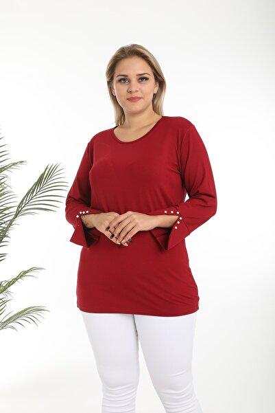 EGZ BUTİK Kadın Büyük Beden Bordo Inci Kol Viskon Bluz