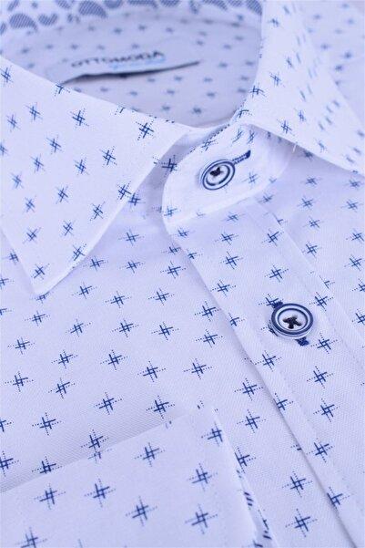 Ottomoda Uzun Kollu Desenli Erkek Gömlek Beyaz