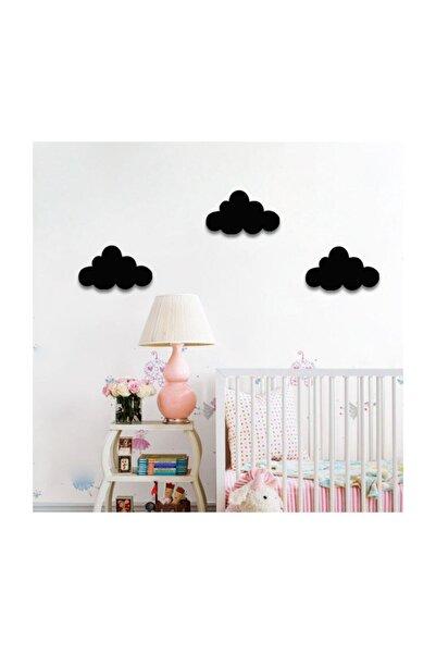 Babyroom Ahşap Siyah Bulut 3'lü Set