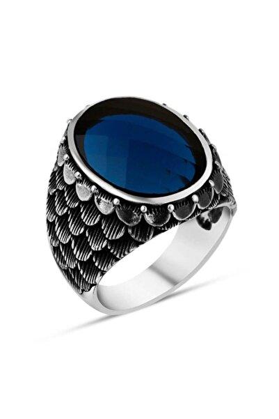 Candie Silver Pul Desenli Mavi Zirkon Taşlı Gümüş Yüzük