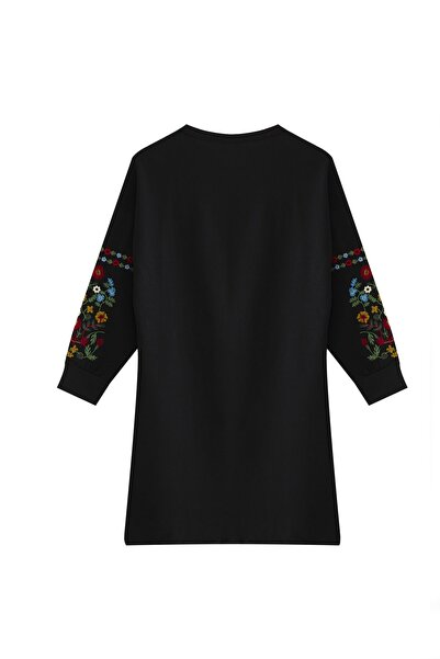 Visqon Yeni Model Kadın Kolları Nakış Detaylı Triko Elbise