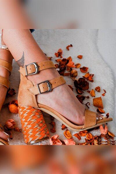 Limoya Kadın Kum Çift Bantlı Gerçek Hasır Topuklu Ayakkabı