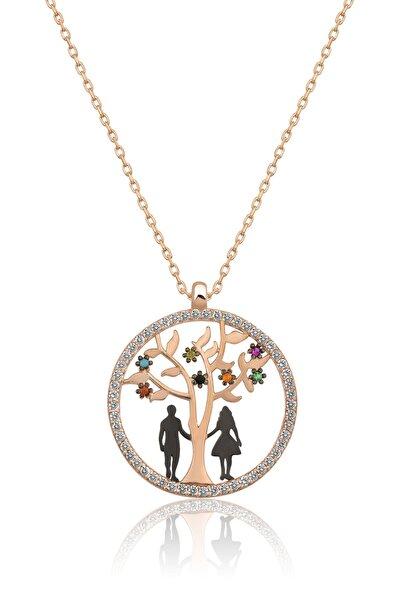 Papatya Silver Hayat Ağacı Sevgili Aşk Kolye Renkli Taşlı Rose Gold Kaplama 925 Ayar Gümüş Uvps100507