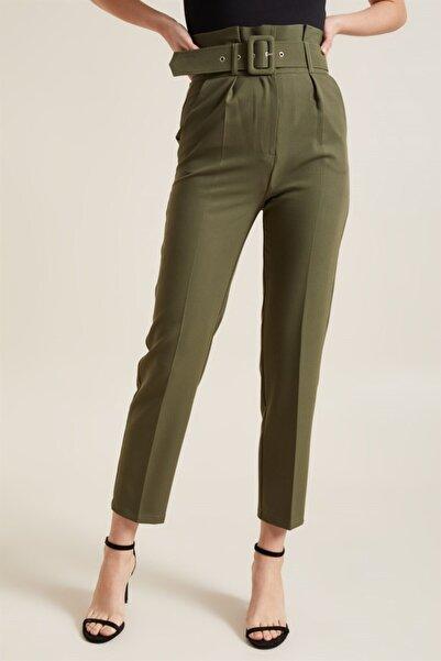 Z GİYİM Kadın Haki Kemerli Yüksek Bel Kumaş Pantolon