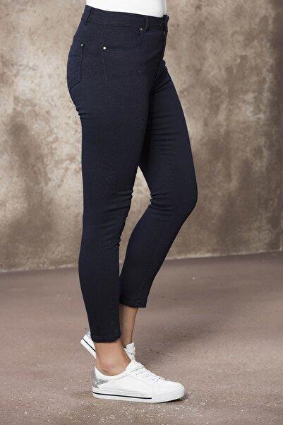 RMG Bilek Boy Pamuk Renkli Pantolon - Lacivert