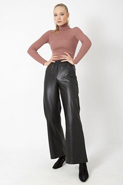 ZİNDİ Kadın Bol Paça Deri Pantolon Siyah