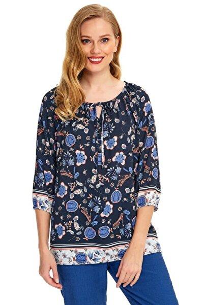 İKİLER Kadın Lacivert Yakası Bağcıklı Desenli Bluz 020-3003