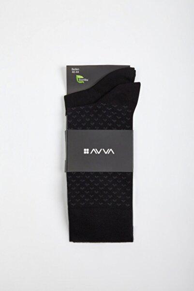 Avva Erkek Siyah Desenli Soket Çorap A02y8506