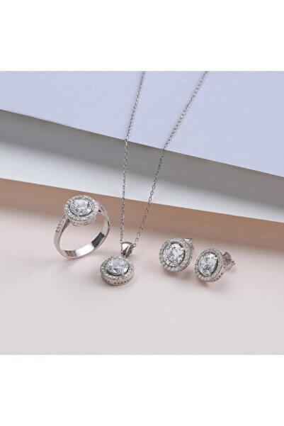 GÜLAL GÜMÜŞ 925 Ayar Gümüş Yuvarlak Taşlı Set