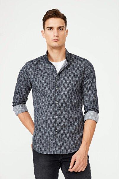 Avva Erkek Siyah Baskılı Düğmeli Yaka Slim Fit Gömlek A02y2294