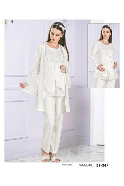 Flz Pijama Lohusa Pijama Takım Sabahlıklı Dantel Işleme 31-347