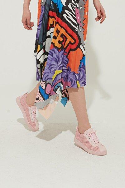ZİNDİ Kadın Ekose Desen Sneaker Ayakkabı Pudra