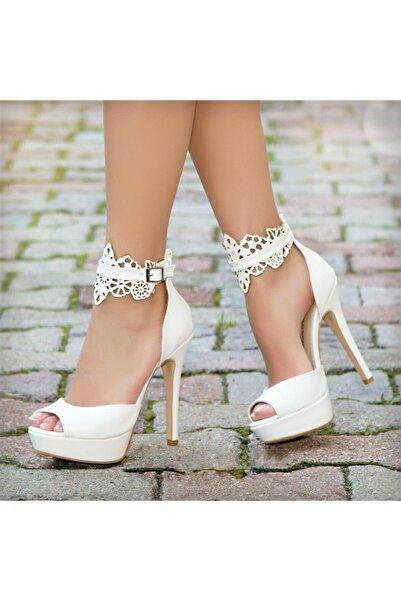 Ayakkabı Delisiyim Kanada Beyaz Platform Topuklu Ayakkabı