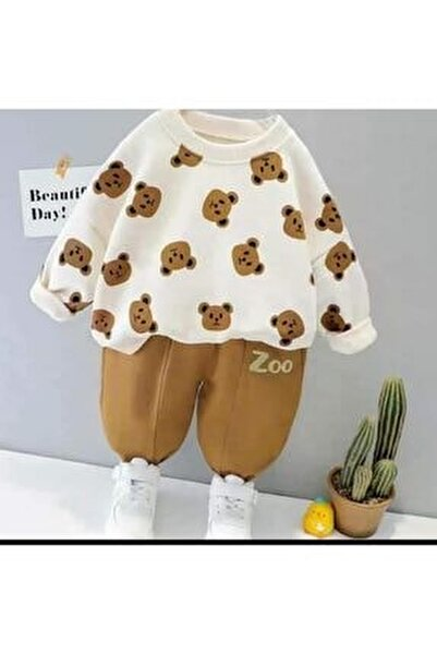 Bebek Ayıcık Baskılı Zoo Tarz Takım 6 9 12 18 Ay