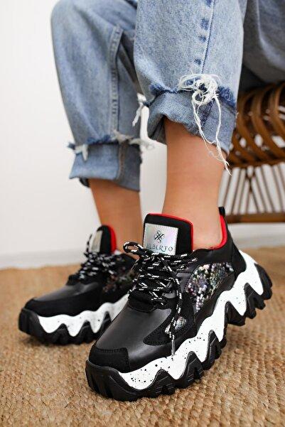 Limoya Lutzy Siyah Süet Yılan Detaylı Renkli Tabanlı Sneakers