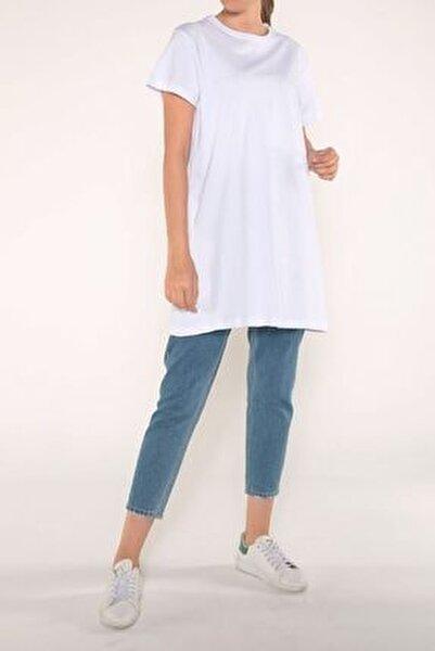 Beyaz Arkası Baskılı Kısa Kol T-shirt