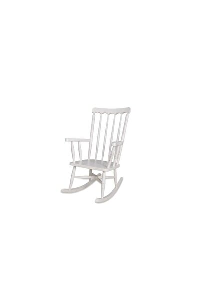 Ahşap Sallanan Sandalye Beyaz