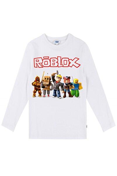 TakeTshirt Unisex Çocuk Beyaz Roblox Uzun Kollu T-Shirt