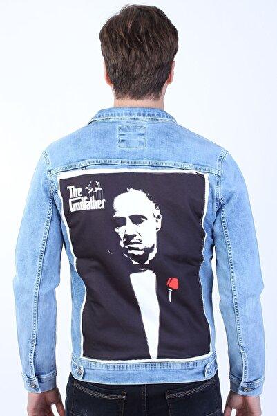 LTC Jeans Godfather Baskılı Erkek Buz Mavi Yıkamalı Kot Ceket