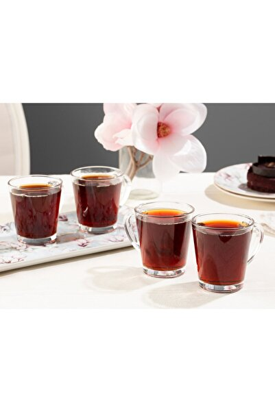 English Home Şeffaf Bells Cam 4'lü Kulplu Çay Bardağı 180 ml