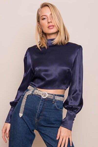 BSL Kadın Lacivert Dik Yaka Bluz