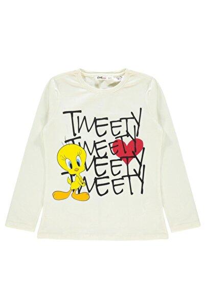 TWEETY Kız Çocuk Sweatshirt 6-9 Yaş Ekru