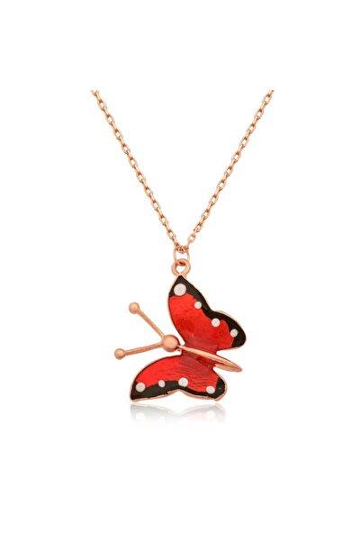 Gumush Gümüş Kırmızı Kelebek Kolye