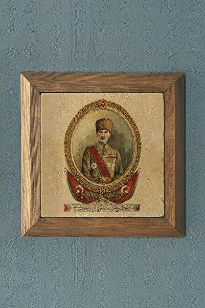 Oscar Stone Decor Masif Çerçeveli Atatürk Doğaltaş Tablo Pano 28x28 cm