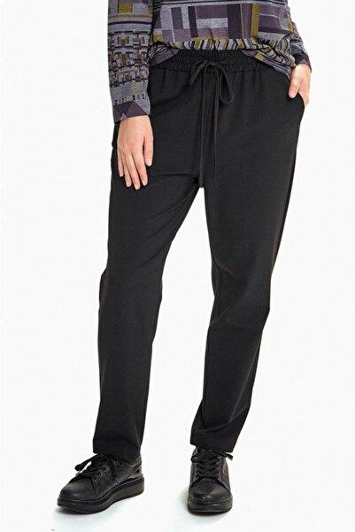 İKİLER Kadın Siyah Beli Lastikli Ve Cepli Pantolon
