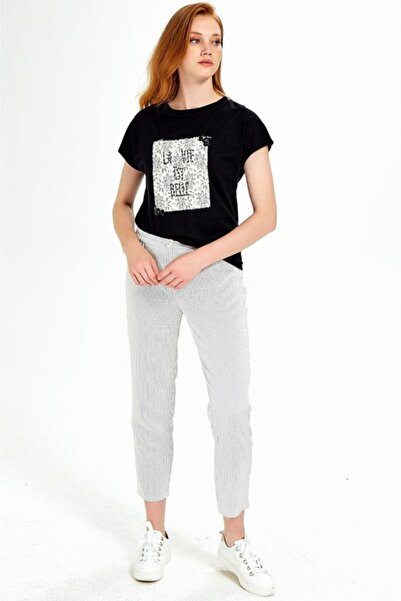 İKİLER Kadın Kırık Beyaz Cepli Beli Lastikli Çizgili Pantolon