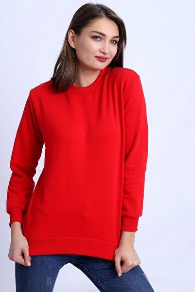 Deafox Canlı Kırmızı Basic Kadın Sweatshirt