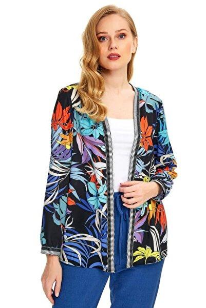 İKİLER Kadın Siyah Yakası Ve Kolu Şeritli Desenli Ceket