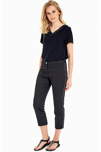 İKİLER Kadın Siyah Yanı Simli Şeritli Pantolon