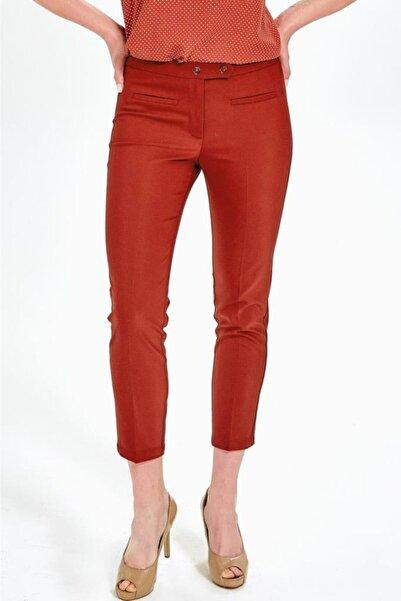İKİLER Kadın Tarçın Fleto Cepli Standart Fit Pantolon
