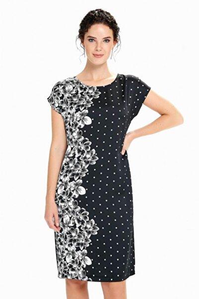İKİLER Kadın Siyah Düşük Kol Çiçek Ve Puan Desenli Elbise 190-4009-01