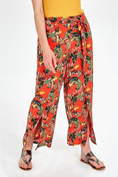 İKİLER Kadın Turuncu Beli Lastikli Desenli Pantolon 019-03-3526