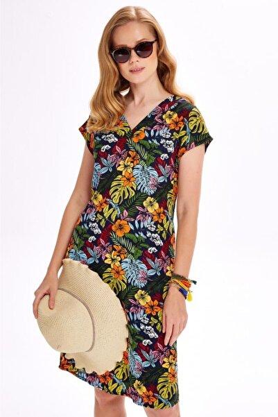 İKİLER Kadın Renkli V Yaka Düşük Kol Desenli Elbise 020-4028